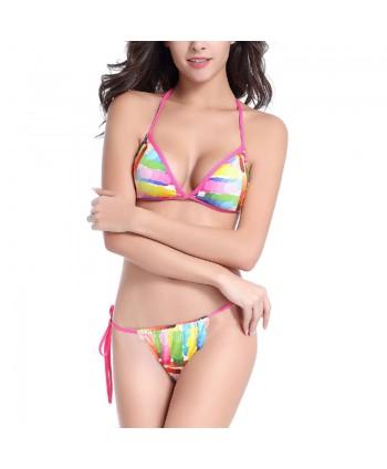 Multicolor Brazilian Cheeky Bikini Set