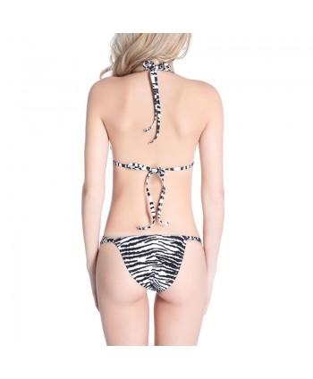 Zebra Print Halter Bikini Set