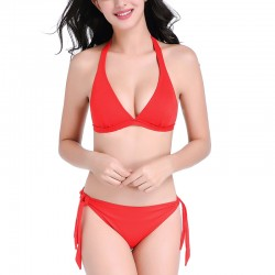 red-halter-bikini-set