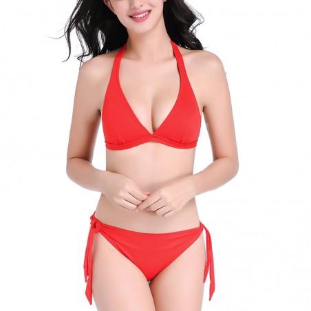 Solid Red Halter Triangle Tie Side Bikini Set