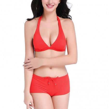 Red Halter Triangle Bikini Set
