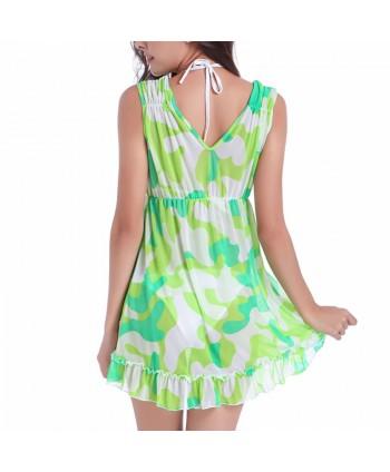 Print Ruffle Beach Cover Up Dress