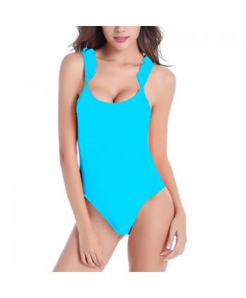 Ruffle Cutout Back One Piece Swimsuit