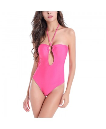 Plus Size Keyhole Cutout Halter Swimsuit