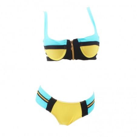 Color Block Strappy Zipper Bikini Set