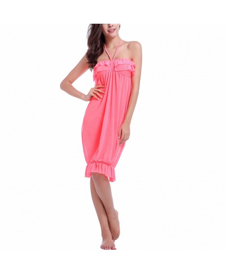 Solid Ruffle Halter Beach Cover Up Dress