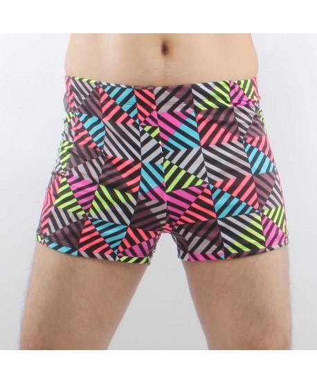 Plus Size Multicolor Stripe Swim Trunks