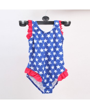 Girls Cute Star Ruffle One Piece Swimsuit