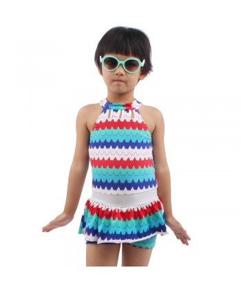 Girls Zigzag Print Skirted Swimsuit