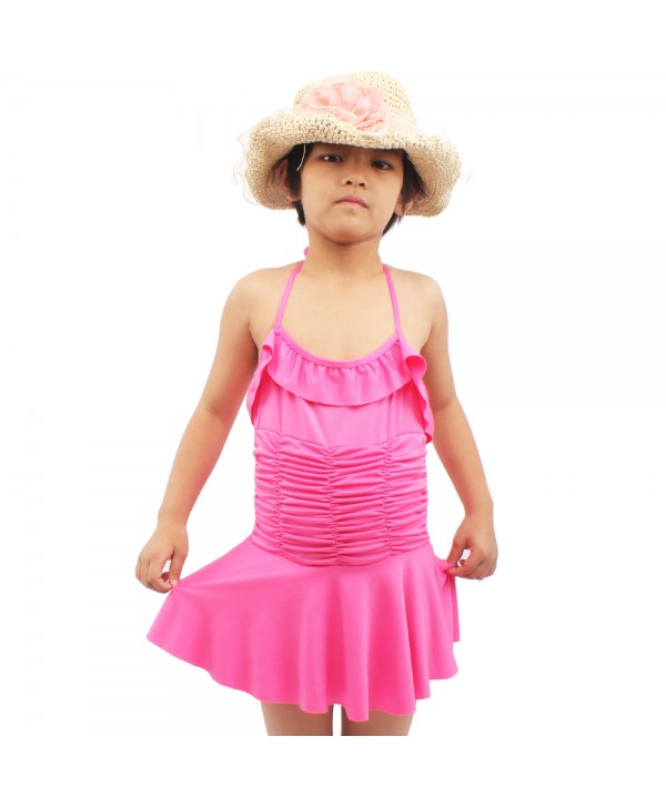 Cute Girls Ruched Ruffle Skirted Swimsuit