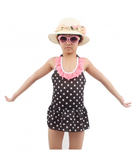 Girls Polka Dot Ruffle Skirted Swimsuit