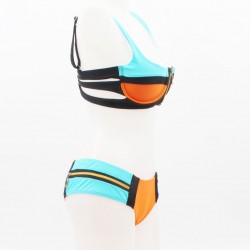 color-block-zipper-bikini-set