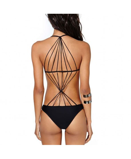 Solid Strappy Back One Piece Swimsuit