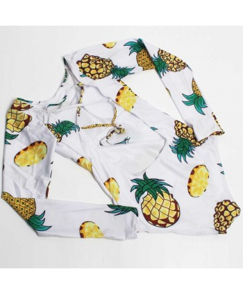 Long Sleeve Pineapple One Piece Swimsuit