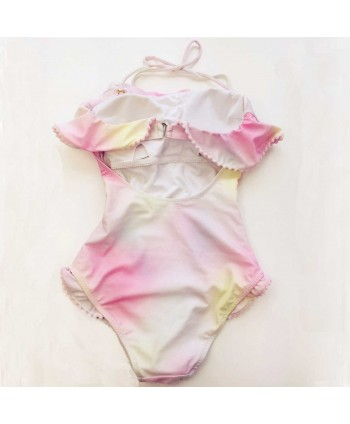 Cute Ombre Flounce One Piece Swimsuit