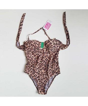 Leopard Halter One Piece Swimsuit