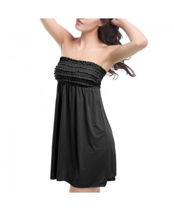 Solid Ruffle Strapless Cover Up Dress
