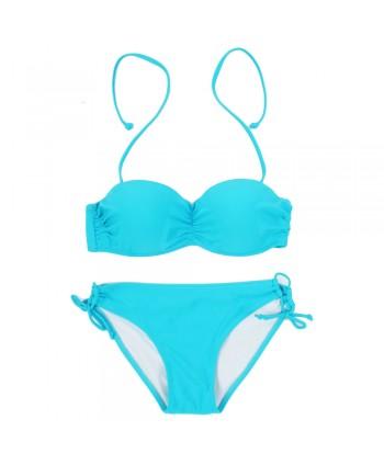 Solid Ruched Halter Bikini Set