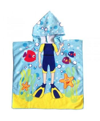 Cartoon Print Hooded Kids Poncho Towel