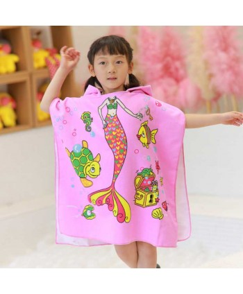 Girls Mermaid Beach Hooded Poncho Towel