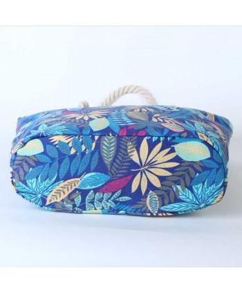Womens Leaf Print Canvas Beach Bag