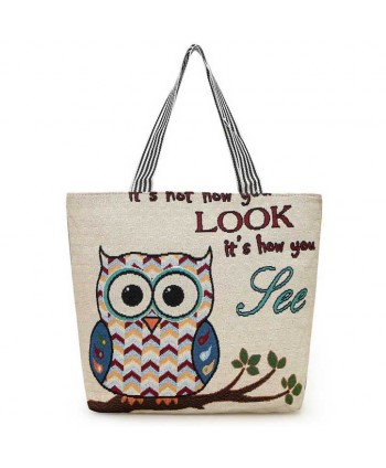 Owl Graphic Beach Tote Handbag