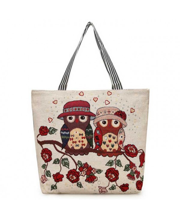 Floral Owl Cute Beach Tote Bag