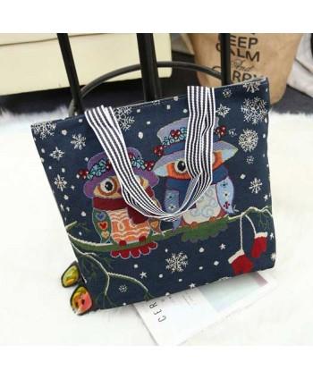 Snowflake Owl Canvas Beach Tote Bag