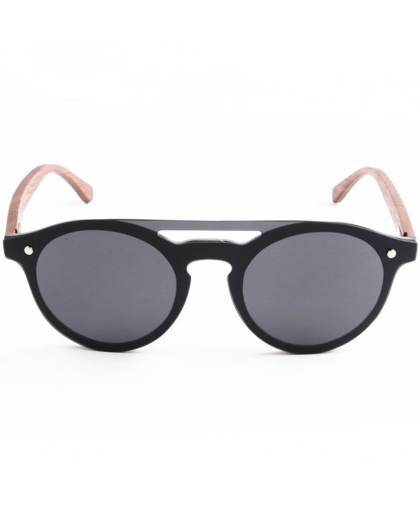 Round Polarized Sunglasses with Wood Temple