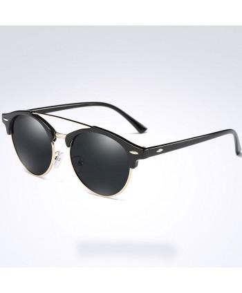Unisex Half Frame Round Polarized Sunglasses
