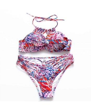 Multicolor Printed Strappy Halter Bikini Set