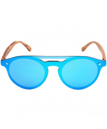 Wood Round Polarized Tinted Sunglasses