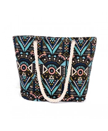Geometric Print Canvas Beach Tote