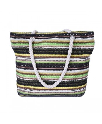 Striped Canvas Tote Handbag for Women