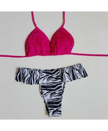Printed Ruffle Halter Bikini Set