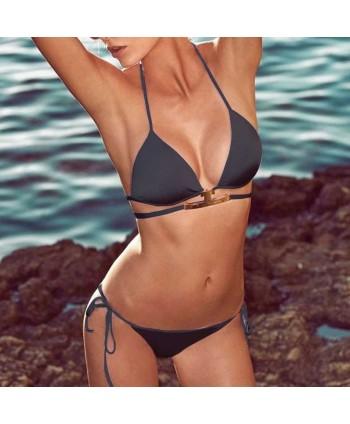 Solid Halter Tie Side Bikini Set