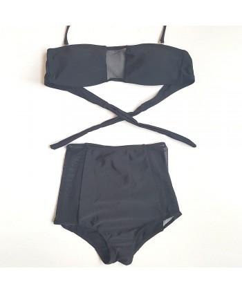 Mesh Insert High Waisted Bikini Set