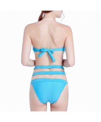 Solid Twist Bandeau Bikini Set