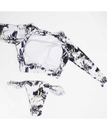 Leaves Padded Crop Top Bikini Set