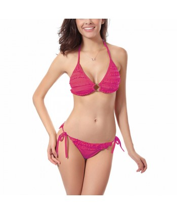 Layered Ruffle Halter Bikini Set