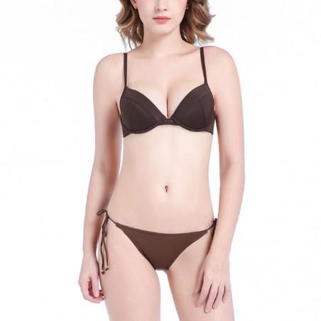 Solid Push Up Tie Side Bikini Set