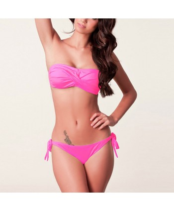 Twist Ruched Bandeau Bikini Set