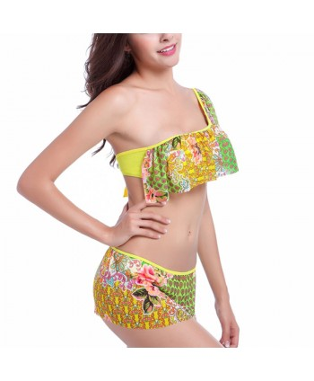 Floral One Shoulder Bikini Set