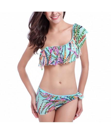 Feather One Shoulder Bikini Set