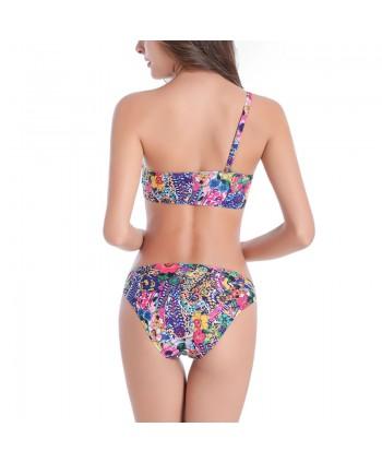 Plus Size Floral One Shoulder Bikini Set