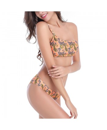 Plus Size Paisley One Shoulder Bikini Set