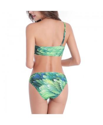 Plus Size Leaf One Shoulder Bikini Set