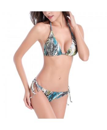 Plus Size Snake Print Bikini Set