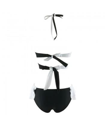 Color Block Wrap Bikini Set