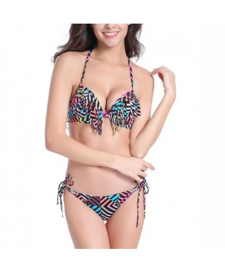 Colorful Stripe Tassel Bikini Set